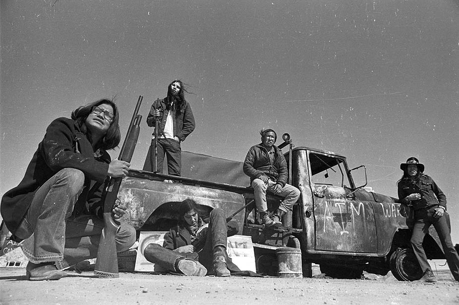 AIM militants at their checkpoint on road leading into Wounded Knee 1973.